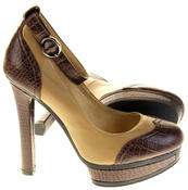Womens Ladies Betsy Synthetic Leather Heeled Court Shoes Thumbnail 4