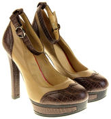 Womens Ladies Betsy Synthetic Leather Heeled Court Shoes Thumbnail 5