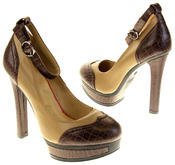 Womens Ladies Betsy Synthetic Leather Heeled Court Shoes Thumbnail 6