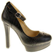 Womens Ladies Betsy Synthetic Leather Heeled Court Shoes Thumbnail 8