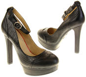 Womens Ladies Betsy Synthetic Leather Heeled Court Shoes Thumbnail 11