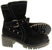 Womens Ladies Betsy Synthetic Suede Heeled Ankle Boots Thumbnail 4