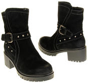 Womens Ladies Betsy Synthetic Suede Heeled Ankle Boots Thumbnail 6