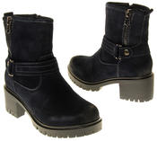 Womens Ladies Betsy Synthetic Suede Heeled Ankle Boots Thumbnail 11