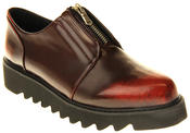 Womens Ladies Betsy Synthetic Leather Bordeaux Zipper Loafers Thumbnail 2