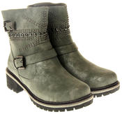 Womens Ladies Betsy Faux Leather Decorative Studs Faux Fur Lining Winter Ankle Boots Size 3 4 5 6 7 8 Thumbnail 5