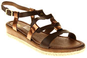 Womens Ladies Betsy Brown Faux Leather Flat Sandals Thumbnail 2