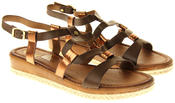 Womens Ladies Betsy Brown Faux Leather Flat Sandals Thumbnail 5