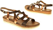 Womens Ladies Betsy Brown Faux Leather Flat Sandals Thumbnail 6