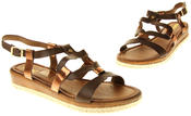 Womens Ladies Betsy Brown Faux Leather Flat Sandals Thumbnail 7