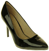 Womens Ladies Betys Black Faux Patent Leather Shiny High Heel Stillettos Thumbnail 2