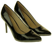 Womens Ladies Betys Black Faux Patent Leather Shiny High Heel Stillettos Thumbnail 5