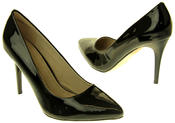 Womens Ladies Betys Black Faux Patent Leather Shiny High Heel Stillettos Thumbnail 6