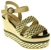 Womens Ladies Betsy Faux Leather Wedge Sandals Thumbnail 2