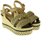 Womens Ladies Betsy Faux Leather Wedge Sandals Thumbnail 5