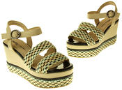 Womens Ladies Betsy Faux Leather Wedge Sandals Thumbnail 7