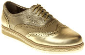 Womens Ladies Betsy Gold Faux Leather Brogue Style Loafers Thumbnail 2
