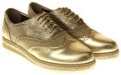 Womens Ladies Betsy Gold Faux Leather Brogue Style Loafers Thumbnail 5