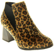 Womens Ladies Betsy Leopard Print Block Heeled Ankle Boots Thumbnail 2