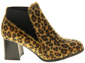Womens Ladies Betsy Leopard Print Block Heeled Ankle Boots Thumbnail 3