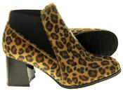 Womens Ladies Betsy Leopard Print Block Heeled Ankle Boots Thumbnail 4