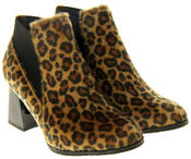 Womens Ladies Betsy Leopard Print Block Heeled Ankle Boots Thumbnail 5