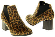 Womens Ladies Betsy Leopard Print Block Heeled Ankle Boots Thumbnail 6