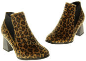 Womens Ladies Betsy Leopard Print Block Heeled Ankle Boots Thumbnail 7
