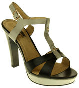Womens Ladies Betsy Faux Leather High Heeled Sandals Thumbnail 2