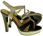 Womens Ladies Betsy Faux Leather High Heeled Sandals Thumbnail 4