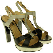 Womens Ladies Betsy Faux Leather High Heeled Sandals Thumbnail 5