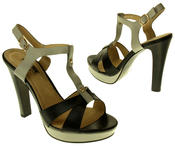 Womens Ladies Betsy Faux Leather High Heeled Sandals Thumbnail 6