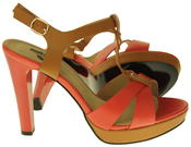 Womens Ladies Betsy Faux Leather High Heeled Sandals Thumbnail 9
