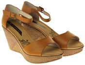 Womens Ladies Elisabeth Buckle Closure Wedged Summer Sandals Thumbnail 5