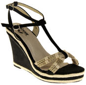 Womens Ladies Betsy Textile Padded Wedged Fashion Sandals Thumbnail 2