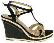 Womens Ladies Betsy Textile Padded Wedged Fashion Sandals Thumbnail 3