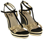 Womens Ladies Betsy Textile Padded Wedged Fashion Sandals Thumbnail 5