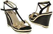 Womens Ladies Betsy Textile Padded Wedged Fashion Sandals Thumbnail 6