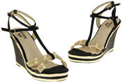 Womens Ladies Betsy Textile Padded Wedged Fashion Sandals Thumbnail 7