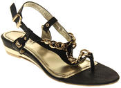 Womens Ladies Betsy Synthetic Leather Small Wedge Sandals Thumbnail 2