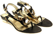 Womens Ladies Betsy Synthetic Leather Small Wedge Sandals Thumbnail 5