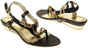 Womens Ladies Betsy Synthetic Leather Small Wedge Sandals Thumbnail 6