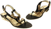 Womens Ladies Betsy Synthetic Leather Small Wedge Sandals Thumbnail 7