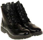 Womens Ladies Faux Patent Leather Ankle Boots Thumbnail 5