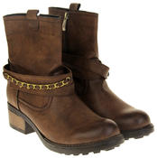 Womens Ladies Betsy Faux Leather Ankle Boots Thumbnail 5