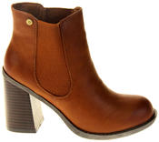 Womens Ladies Faux Leather Block Heel Ankle Boots Thumbnail 3