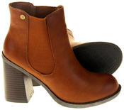 Womens Ladies Faux Leather Block Heel Ankle Boots Thumbnail 4