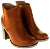 Womens Ladies Faux Leather Block Heel Ankle Boots Thumbnail 5