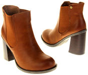 Womens Ladies Faux Leather Block Heel Ankle Boots Thumbnail 6