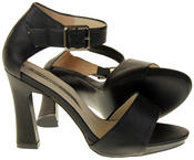 Womens Ladies Elisabeth Black Faux Leather High Heels Thumbnail 4
